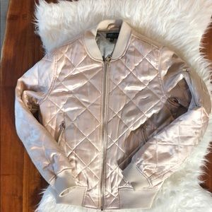 Topshop Pink Quilted Bomber Jacket US 6
